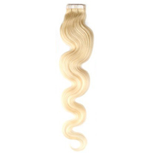 "16"" White Blonde (#60) 20pcs Wavy Tape In Remy Human Hair Extensions"