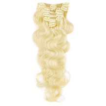 """16"""" Ash Blonde (#24) 7pcs Wavy Clip In Indian Remy Human Hair Extensions"""
