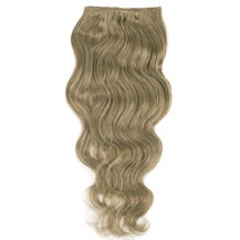 """16"""" Ash Brown (#8) 7pcs Wavy Clip In Indian Remy Human Hair Extensions"""
