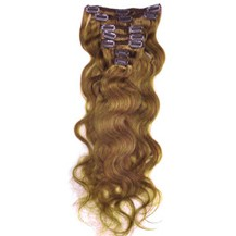 """16"""" Golden Brown (#12) 7pcs Wavy Clip In Indian Remy Human Hair Extensions"""