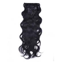 "16"" Jet Black (#1) 7pcs Wavy Clip In Brazilian Remy Hair Extensions"