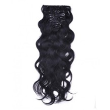 """16"""" Jet Black (#1) 7pcs Wavy Clip In Indian Remy Human Hair Extensions"""