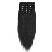 "16"" Jet Black (#1) 9PCS Straight Clip In Indian Remy Human Hair Extensions"