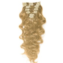 """16"""" Strawberry Blonde (#27) 7pcs Wavy Clip In Indian Remy Human Hair Extensions"""