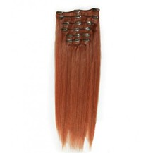 "16"" Vibrant Auburn (#33) 10PCS Straight Clip In Indian Remy Human Hair Extensions"