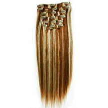 "18"" #4/613 7pcs Clip In Indian Remy Human Hair Extensions"