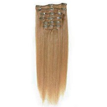 "22"" Golden Brown (#12) 7pcs Clip In Synthetic Hair Extensions"