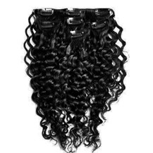 """22"""" Jet Black (#1) 7pcs Curly Clip In Indian Remy Human Hair Extensions"""