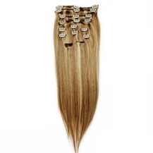 """24"""" Brown/Blonde (#8/613) 7pcs Clip In Indian Remy Human Hair Extensions"""