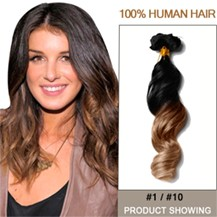 """16"""" Two Colors #1 And #10 Wavy Ombre Hair Extensions"""