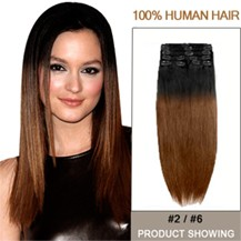 """16"""" Two Colors #2 And #6 Straight Ombre Hair Extensions"""