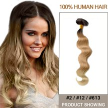 """20"""" Two Colors #2 And #12 And #613 Wavy Ombre Hair Extensions"""