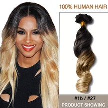 """22"""" Two Colors #1b And #27 Wavy Ombre Hair Extensions"""