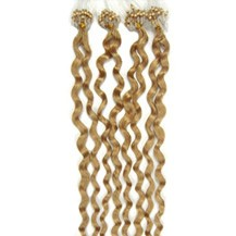 "16"" Ash Blonde (#24) 100S Curly Micro Loop Remy Human Hair Extensions"