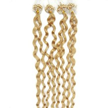 "16"" Bleach Blonde (#613) 100S Curly Micro Loop Remy Human Hair Extensions"
