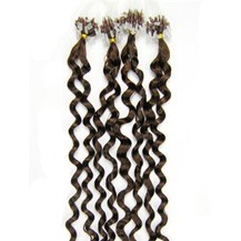 "16"" Chestnut Brown (#6) 100S Curly Micro Loop Remy Human Hair Extensions"