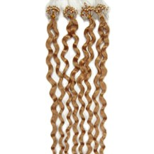 "16"" Golden Brown (#12) 100S Curly Micro Loop Remy Human Hair Extensions"