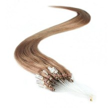 """16"""" Golden Brown (#12) 50S Micro Loop Remy Human Hair Extensions"""