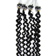 "16"" Jet Black (#1) 100S Curly Micro Loop Remy Human Hair Extensions"