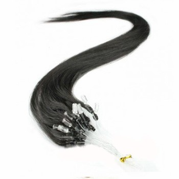 "16"" Off Black (#1b) 100S Micro Loop Remy Human Hair Extensions"