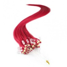 "16"" Red 100S Micro Loop Remy Human Hair Extensions"