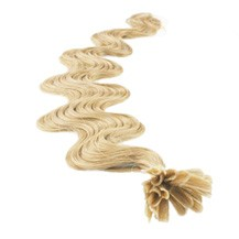 """16"""" Ash Blonde (#24) 50S Wavy Nail Tip Human Hair Extensions"""
