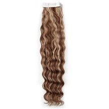 "16"" Ash Brown Blonde  (#8-613) 20pcs Curly Tape In Remy Human Hair Extensions"