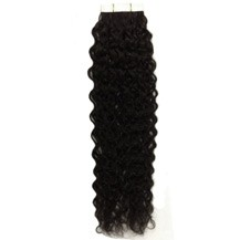 "16"" Jet Black (#1) 20pcs Curly Tape In Remy Human Hair Extensions"