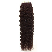 "18"" Dark Brown (#2) 20pcs Curly Tape In Remy Human Hair Extensions"