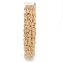 "20"" Ash Blonde (#24) 20pcs Curly Tape In Remy Human Hair Extensions"
