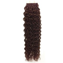 "20"" Chocolate Brown (#4) 20pcs Curly Tape In Remy Human Hair Extensions"