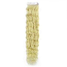 """22"""" White Blonde (#60) 20pcs Curly Tape In Remy Human Hair Extensions"""