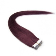 """24"""" 99J 20pcs Tape In Remy Human Hair Extensions"""