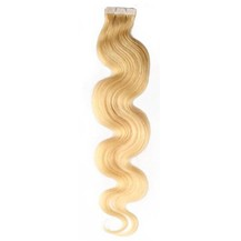"24"" Ash Blonde (#24) 20pcs Wavy Tape In Remy Human Hair Extensions"