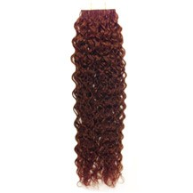"24"" Vibrant Auburn (#33) 20pcs Curly Tape In Remy Human Hair Extensions"