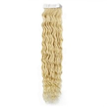 "28"" Bleach Blonde (#613) 20pcs Curly Tape In Remy Human Hair Extensions"