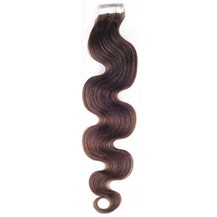 "28"" Chocolate Brown (#4) 20pcs Wavy Tape In Remy Human Hair Extensions"