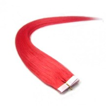 "28"" Pink 20pcs Tape In Remy Human Hair Extensions"