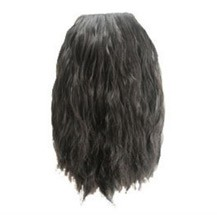Fluffy Wavy Oblique Bang Black 1 Piece