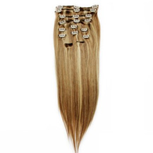 16 inches Brown/Blonde (#8/613) 7pcs Clip In Indian Remy Human Hair Extensions