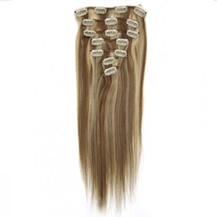"16"" #12/613 10PCS Straight Clip In Indian Remy Human Hair Extensions"
