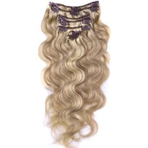 "16"" #12/613 7pcs Wavy Clip In Indian Remy Human Hair Extensions"