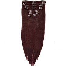 "16"" 99J 7pcs Straight Clip In Brazilian Remy Hair Extensions"