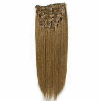 """16"""" Ash Brown (#8) 7pcs Clip In Indian Remy Human Hair Extensions"""