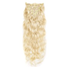 "16"" Bleach Blonde (#613) 7pcs Wavy Clip In Indian Remy Human Hair Extensions"