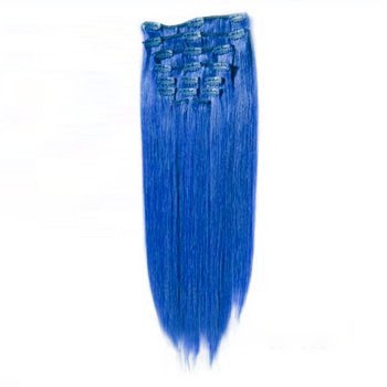 "16"" Blue 7pcs Clip In Brazilian Remy Hair Extensions"