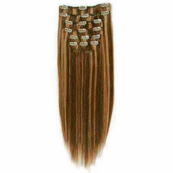 "16"" Brown/Blonde (#4_27) 7pcs Clip In Brazilian Remy Hair Extensions"