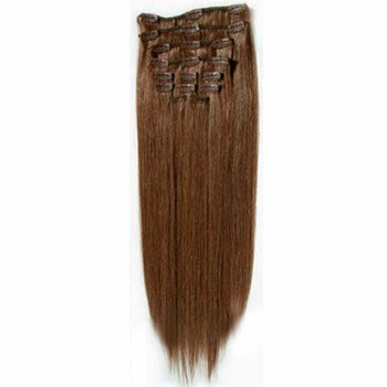 """16"""" Chestnut Brown (#6) 7pcs Clip In Brazilian Remy Hair Extensions"""