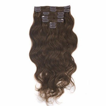 "16"" Chestnut Brown (#6) 7pcs Wavy Clip In Brazilian Remy Hair Extensions"