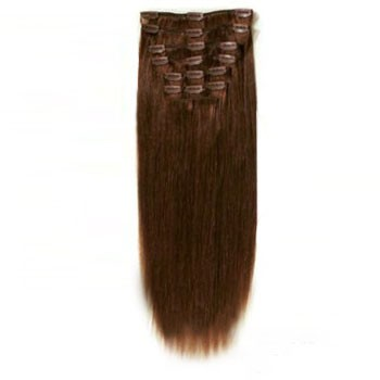 "16"" Chocolate Brown (#4) 7pcs Clip In Brazilian Remy Hair Extensions"